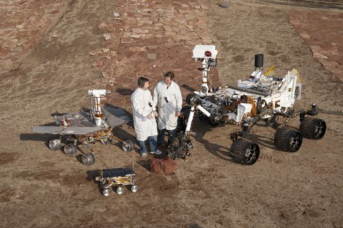 Three generations of Mars rovers with their engineers. Curiosity is the largest rover ever built. Credit: NASA/JPL-Caltech