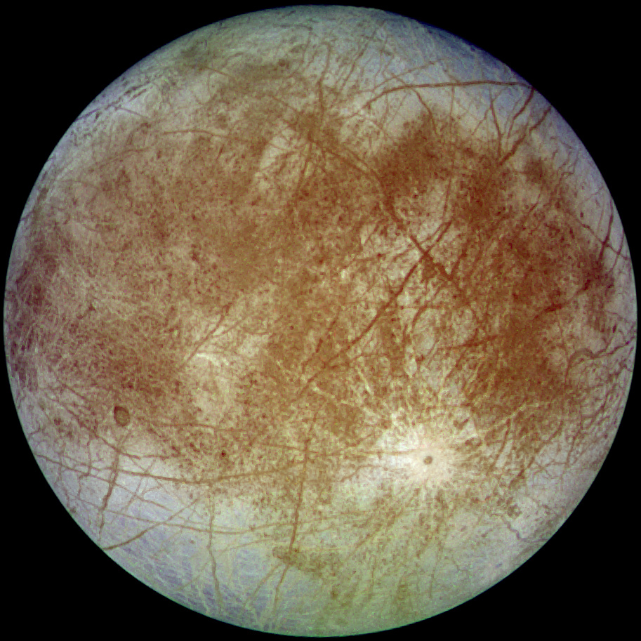 Europa, Jupiter's fourth largest satellite, photographed by the Galileo orbiter flying over it. Credits: NASA