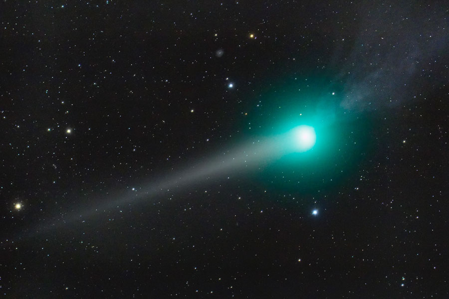 The dust tail and anti-tail of the Lulin comet. Credit: Joseph Brimacombe