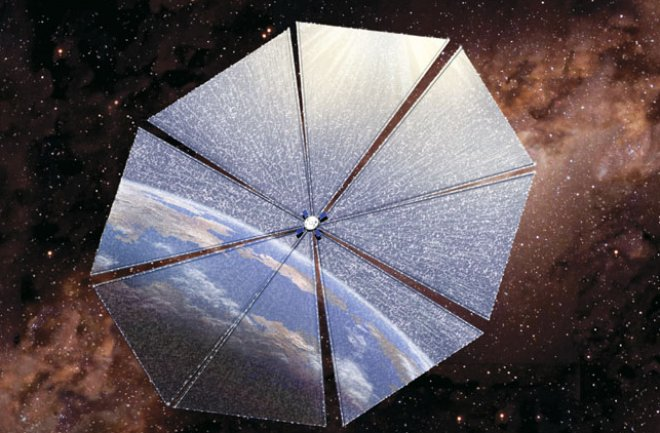 Solar sails, also called photon sails, use solar radiation as a means of propulsion and can be used to divert asteroids. Credits: NASA