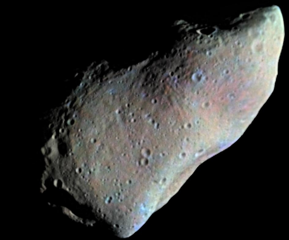 951 Gaspra, the first asteroid to be photographed at close range by the Galileo probe in 1991. Credit: NASA