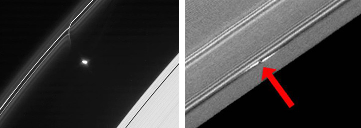 Between 2009 and 2012, NASA's Cassini probe provided the first direct evidence of streams of space debris and small meteoroids crashing into Saturn's rings. The meteoroids range in diameter from 1cm to tens of metres.   Credit: NASA/JPL-Caltech/Space Science Institute/Cornell