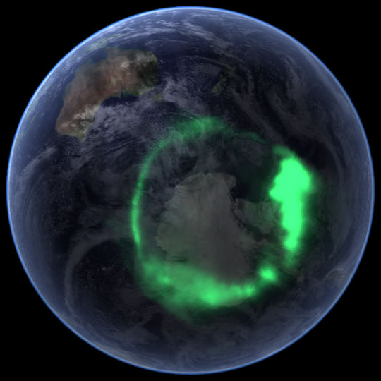 Image of a polar aurora seen from Space. Credits: NASA