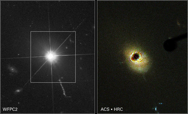 Images of a quasar taken by the Hubble Space Telescope. On the right ,  the nucleus of the quasar is shown    Credits: HST, NASA