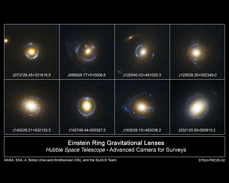 An assortment of Einstein rings photographed by the Hubble Space Telescope in 2005. Credits: NASA, HST