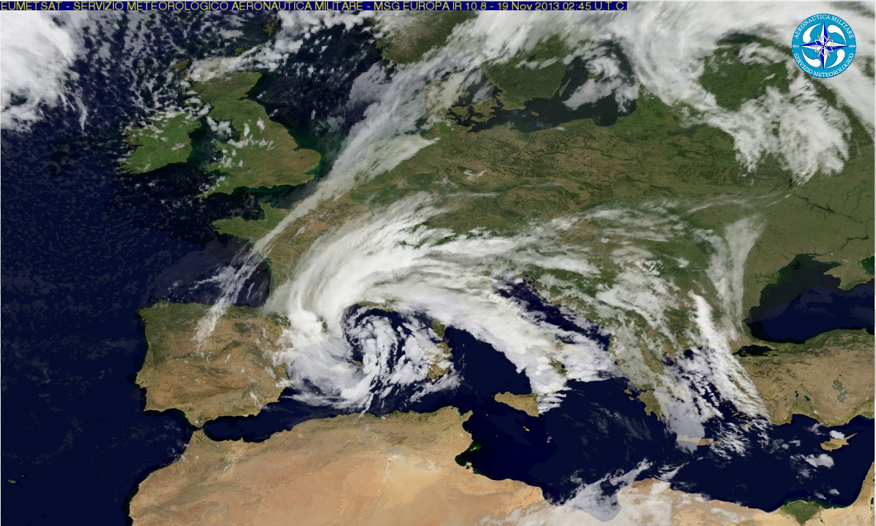 A satellite image of the weather front that hit Sardinia. Credits: Servizio Meteorologico dell'Aereonautica Militare (The Italian Military Aeronautics Meteorology Service)