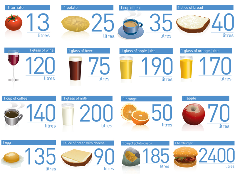 The mean water footprint of some of the more common foods at our table.  Credits: FAO 2012, elaborated by FAO WATER