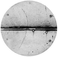 Photograph by the American physicist Carl Anderson of the first positron ever observed. Credits: California Institute of Technology