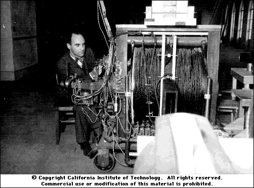 Carl Anderson working on his cloud chamber. Credits: California Institute of Technology