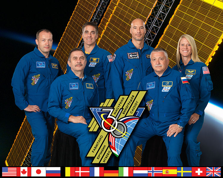 Image of the members of mission  Expedition 36. Font row: Russian cosmonauts Pavel Vinogradov (left), Commander  and Fyodor Yurchikhin, flight engineer. Second row, from left to right: Russian cosmonaut   Alexander Misurkin, NASA astronaut Chris Cassidy, Italian ESA astronaut Luca Parmitano  and  NASA astronaut Karen Nyberg, all flight engineers. Credits: NASA/ESA