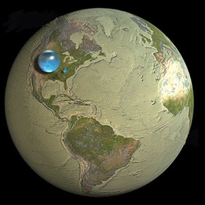 The availability of water resources of the planet: the large blue sphere represents all the Earth's water, the second blue sphere represents the world's liquid fresh water (groundwater, rivers, lakes, and swamps). Credits: Howard Perlman, USGS; globe illustration by Jack Cook, Woods Hole Oceanographic Institution (©); Adam Nieman.