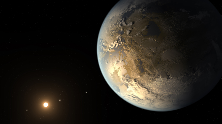 Artist's concept of Kepler-186f, the exoplanet similar to the Earth discovered with NASA's Kepler telescope. Credits: Wikipedia