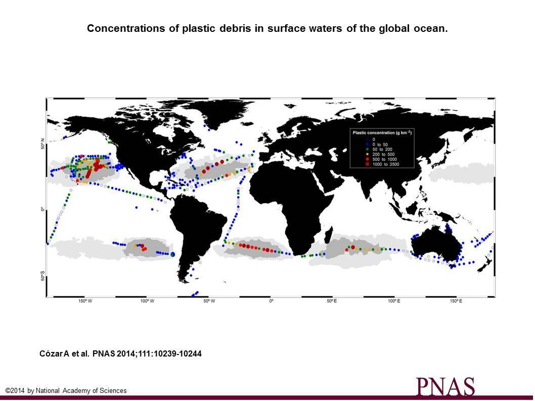 World map of the concentration of plastic debris on the surface ( Credits Cózar A et al., PNAS, 2014)