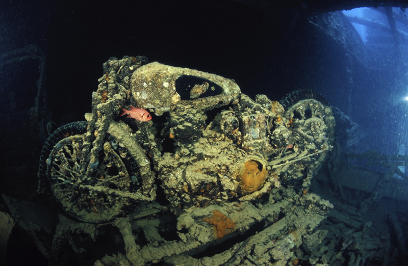 Old motorcycle on the Thristlegorm wreck